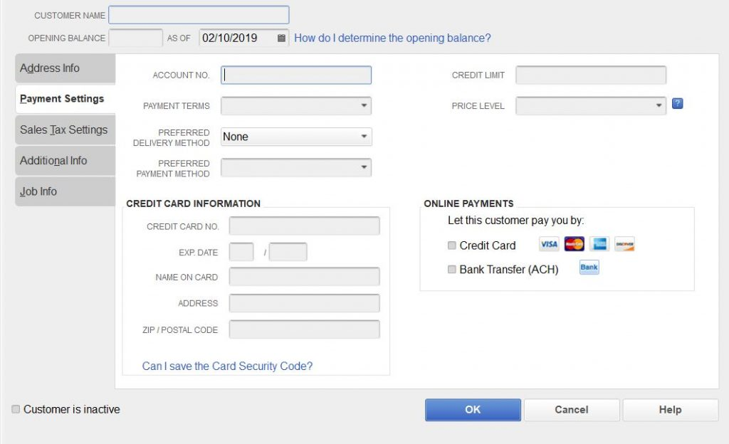 Customer Payment Settings